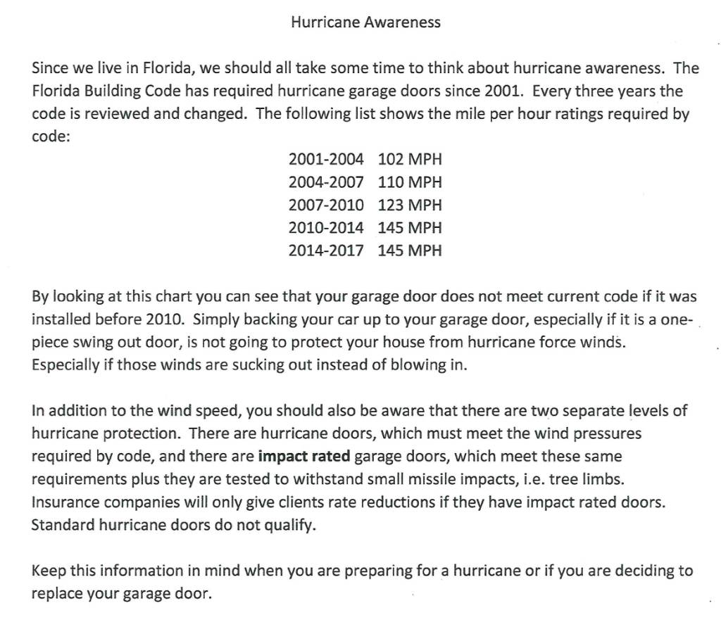 Hurricane Awareness Genie 727 446 0189 Clearwater Garage