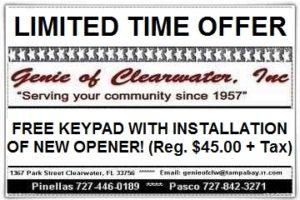 Free Door Keypad with Purchase Garage Door Opener